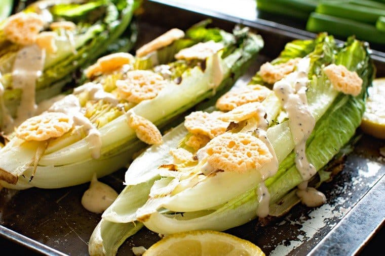 Grilled Caesar Salad on pan