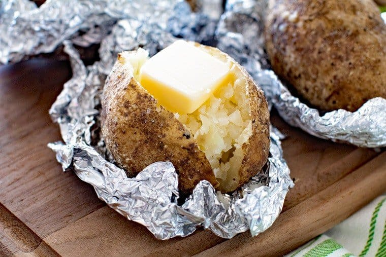 baked potatoes that have been grilled