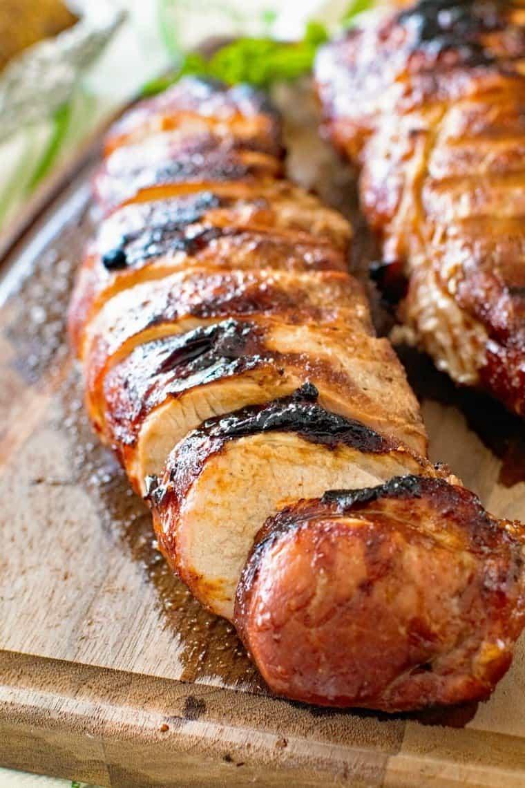 grilled pork loin cut