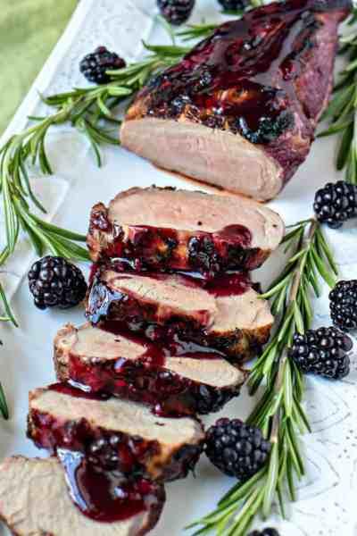 Blackberry rosemary pork loin on platter