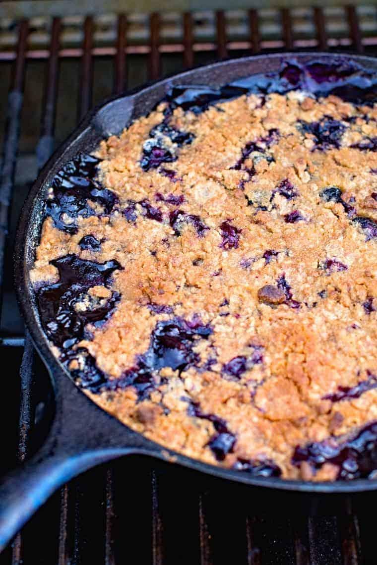 Pan of Lemon Blueberry Crisp on the girll