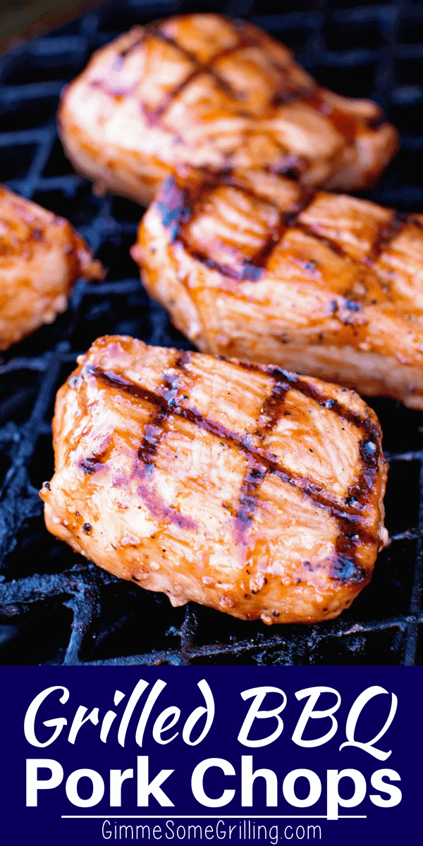 Tender, Juicy BBQ Pork Chops on your grill are the perfect summer grilling recipe! Marinade in a homemade BBQ Marinade and then Grilled. You'll be enjoying these the whole year! via @gimmesomegrilling