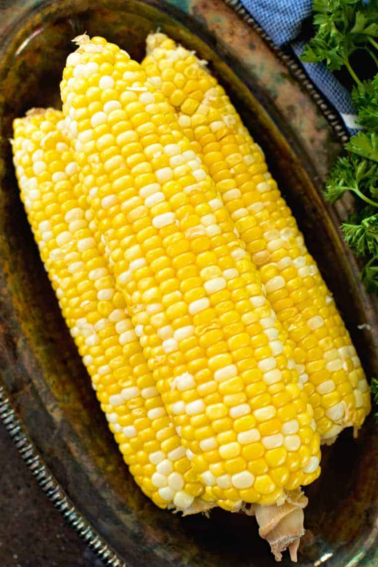 grilled corn overhead on plate