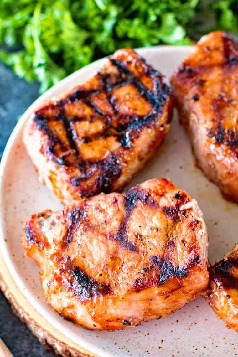 Grilled BBQ Pork chops on plate