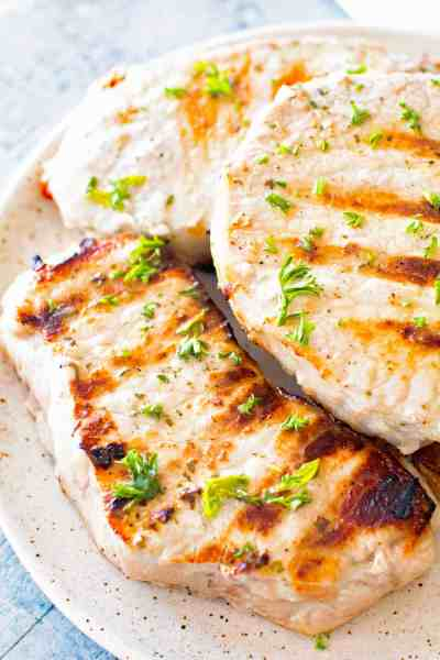 grilled pork chops on plate