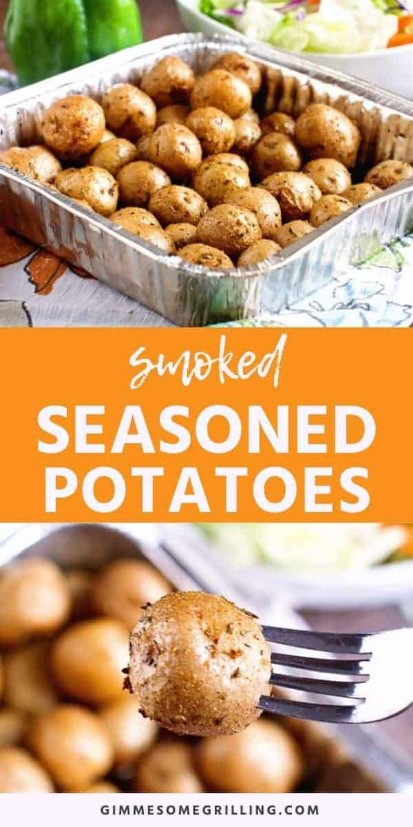 These Seasoned Smoked Potatoes are creamer potatoes with a delicious blend of seasonings including garlic, oregano, thyme and parsley. They are smoked and an easy side dish to make with your main dish on the smoker. Make these easy potatoes on your Traeger tonight! #smoked #potatoes via @gimmesomegrilling