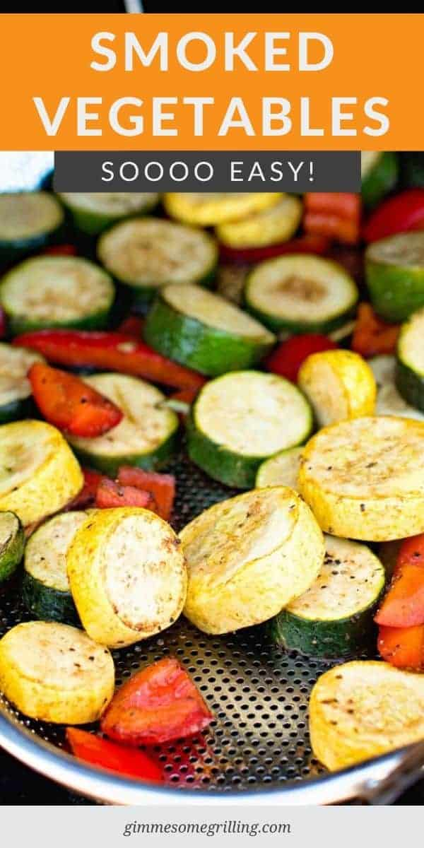 A blend of vegetables with balsamic and seasonings that are smoked on your Traeger. You can use almost any vegetables plus add potatoes, sweet potatoes or slices of sausage to make it a meal on your smoker! #smoked #vegetables via @gimmesomegrilling