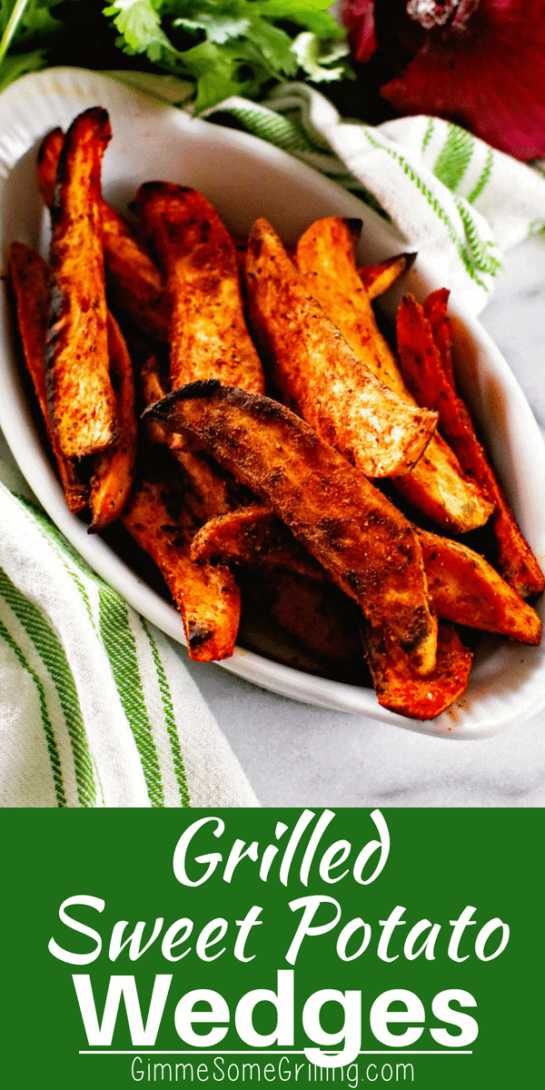 These crispy, Grilled Sweet Potato Wedges have the perfect seasoning on them! I love the crisp edges and the spicy and sweet seasoning on them. Throw them on your grill the next time you grill for the perfect side dish! #grill #grilled #sweetpotato #sidedish #grilledsidedish #grilledpotatoes #potatoes #recipe #recipeinspiration #easygrillingrecipe #gimmesomegrilling