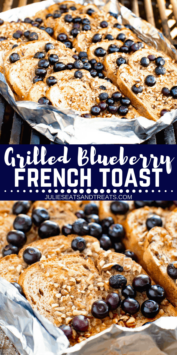 Delicious French Toast made on your grill! This Blueberry French Toast is grilled so you don't have to heat up your kitchen and can make it while camping over a campfire too! The hint of cinnamon and juicy blueberries will make this your new favorite french toast recipe! #frenchtoast #breakfast #blueberry #recipe #easyrecipe #grill #grilled #grilling #gimmsomegrilling via @gimmesomegrilling