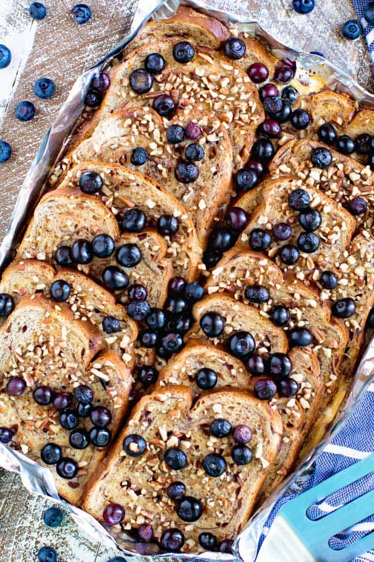 Overhead of Blueberry French Toast