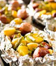Foil Packet with sausage green beans and potatoes