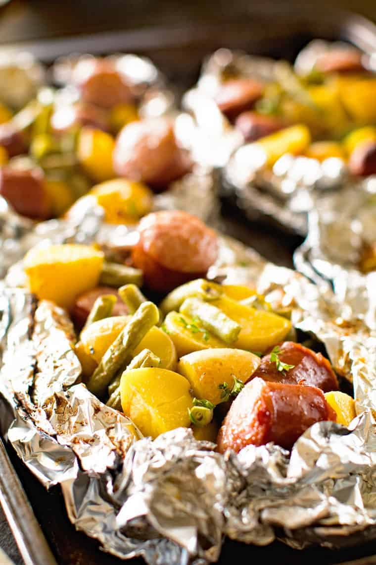 Sausage Foil Packets with sausage green beans potatoes