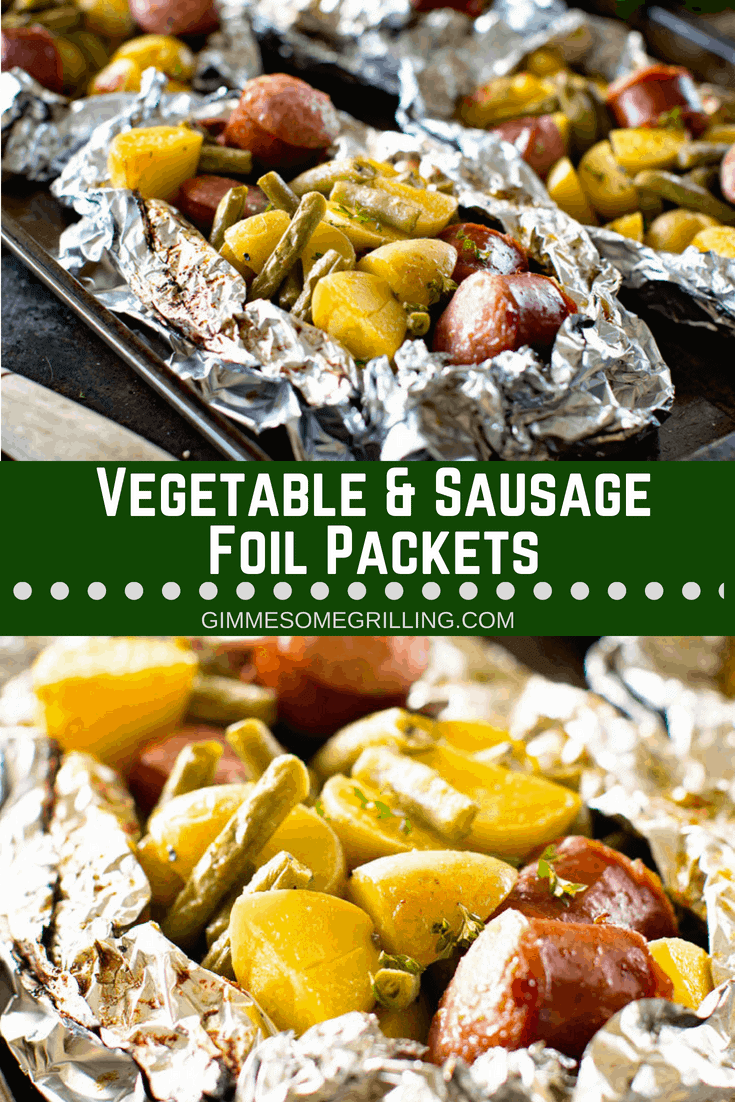 Delicious and Easy Foil Packet Meal! These Vegetable & Sausage Foil Packets are a whole meal in one packet. They have Smoked Sausage, Green Beans and Potatoes. You can either make them on the grill or the oven. We love them for an easy dinner recipe! #foil #packets #foilpackets #foilpacks #grilling #dinner #sausage #greenbeans #recipe #inspiration #grilled via @gimmesomegrilling