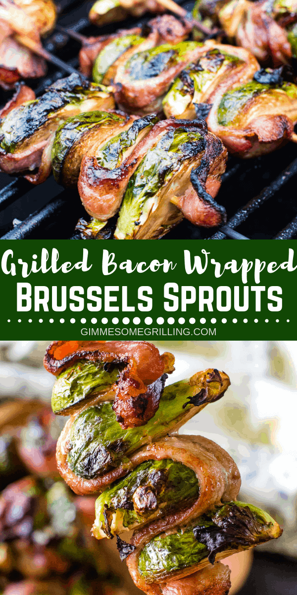 Delicious grilled Bacon Wrapped Brussel Sprouts on a skewer! This easy side dish is perfect for throwing on the grill and so tasty. A quick and simple marinade makes these the BEST Brussel Sprouts ever! #gimmesomegrilling #brusselsprouts #brusselssprouts #kebab #skewer #skewers #bacon #grill #grilling #grilled #vegetable #vegetables via @gimmesomegrilling