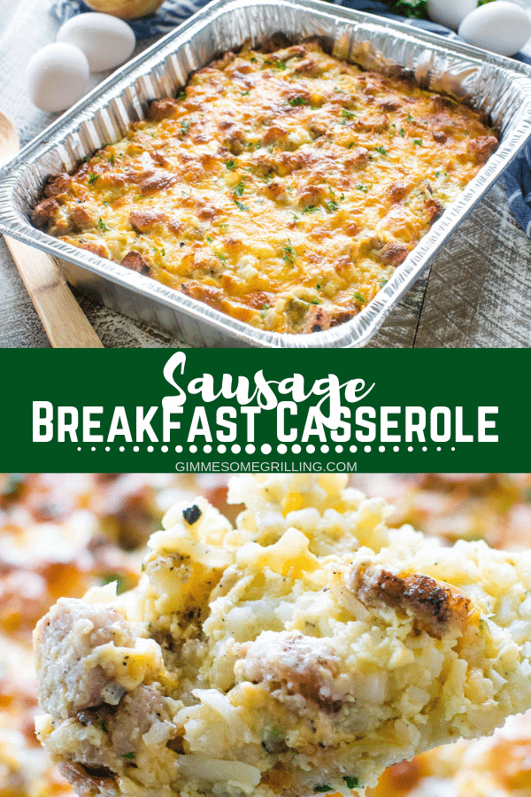 Your favorite breakfast casserole that you can make on the grill or in the oven! This quick and easy Sausage Breakfast Casserole is stuffed with hash browns, eggs, sausage and will be your new go to recipe for making a delicious grilled breakfast! #gimmesomegrilling #breakfast #breakfastcasserole #sausage #sausagebreakfastcasserole #grill #grilling #grilled #recipe #breakfastrecipe