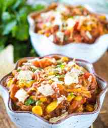 bowl of pulled pork chili recipe