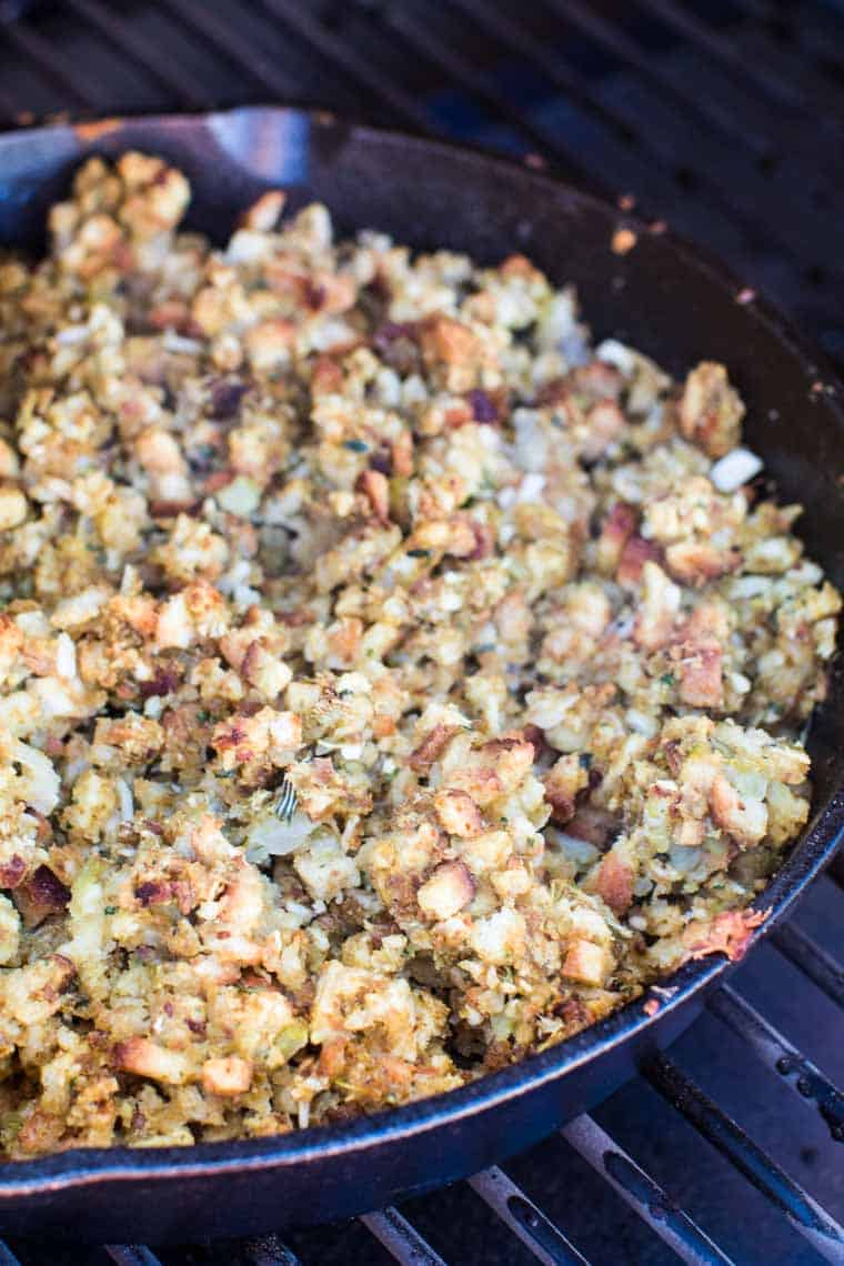 Smoked Stuffing Traeger Recipes in skillet