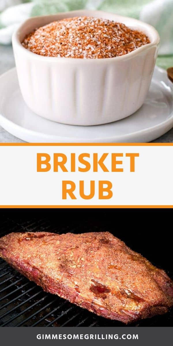 This super easy Brisket Rub recipe is so delicious and will make your brisket the BEST! Only six spices that are already in your pantry waiting to be mixed. Mix it up, grab your beef brisket, fire up the smoker and you will be enjoying brisket with the perfect bark in no time at all! #brisket #rub via @gimmesomegrilling