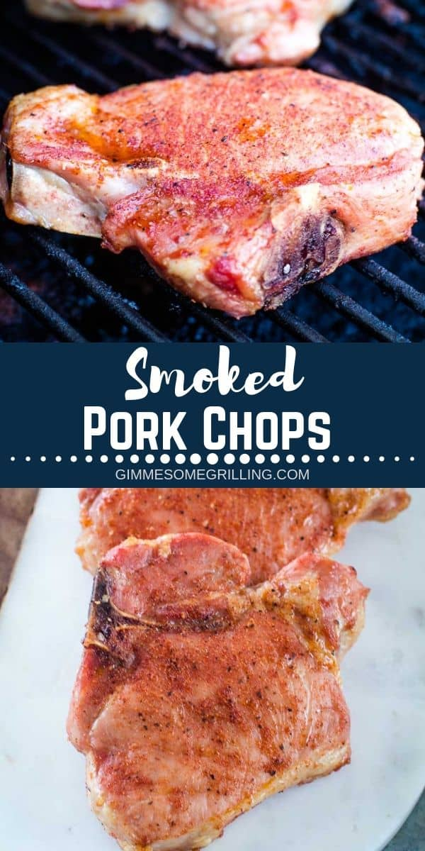 These easy Smoked Pork Chops are packed with flavor from a homemade seasoning and have tons of smoked flavor. Fire up and make these on your Traeger pellet grill today. They are easy enough for the beginner smoker, but so delicious even the seasoned veteran will love this pork chop recipe. #traeger #recipe via @gimmesomegrilling