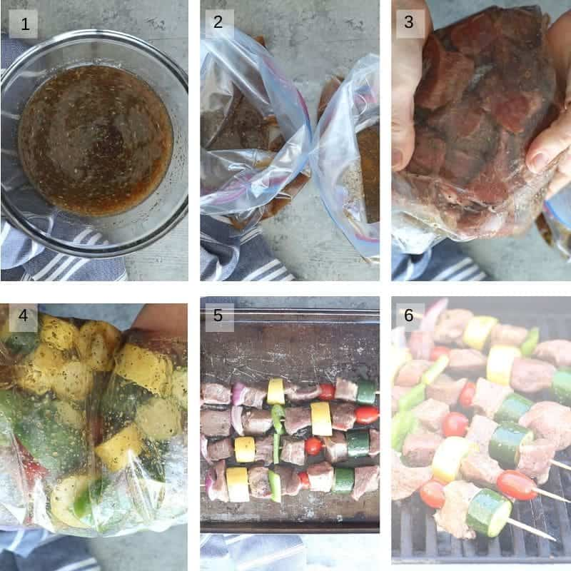 Collage of six images showing making marinade steak and vegetables in marinade and assemblying kabobs
