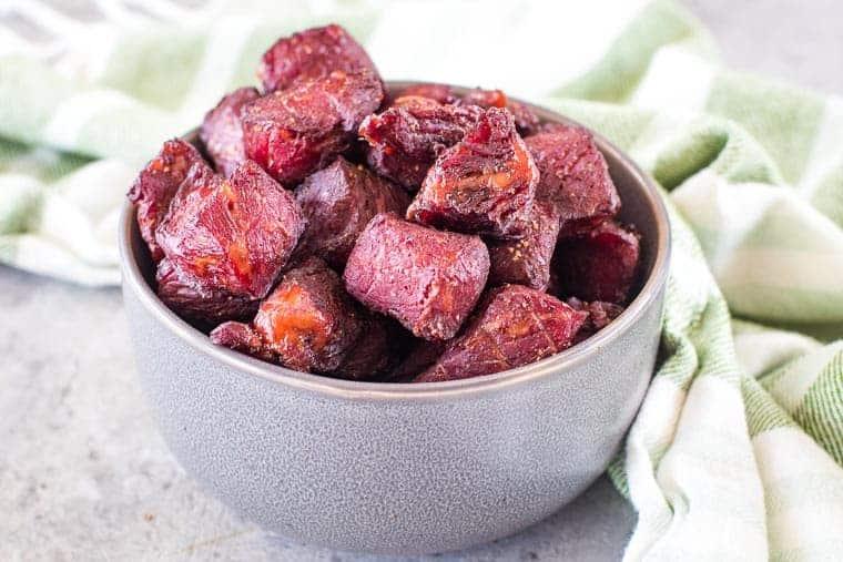 traeger steak bites recipe in gray bowl