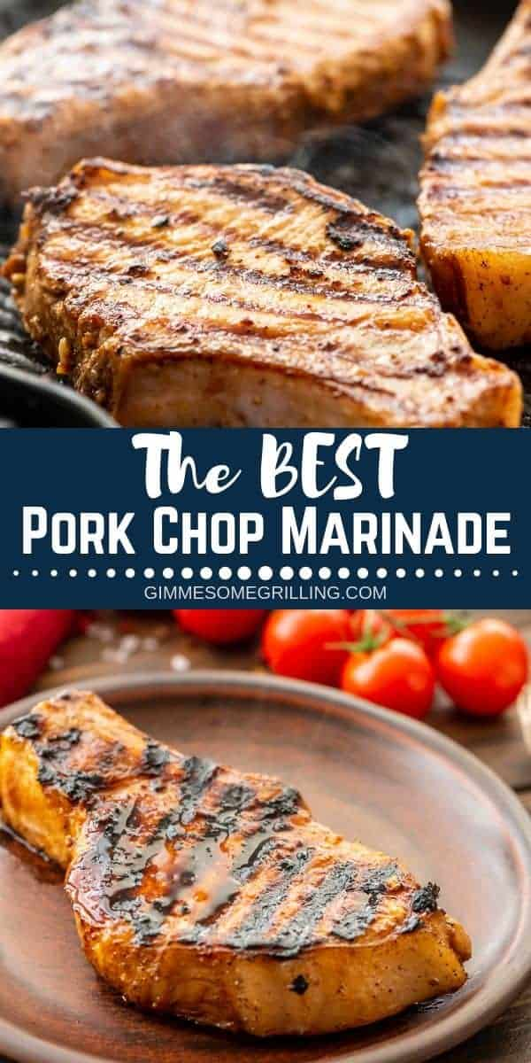 This is the BEST Pork Chops Marinade! We love that it's so quick and easy. Plus, you probably have all the ingredients already. It makes your pork chops extra juicy, full of flavor and delicious. You can use it if you are grilling your pork outside or if you are using a grill pan indoors! #pork #marinade