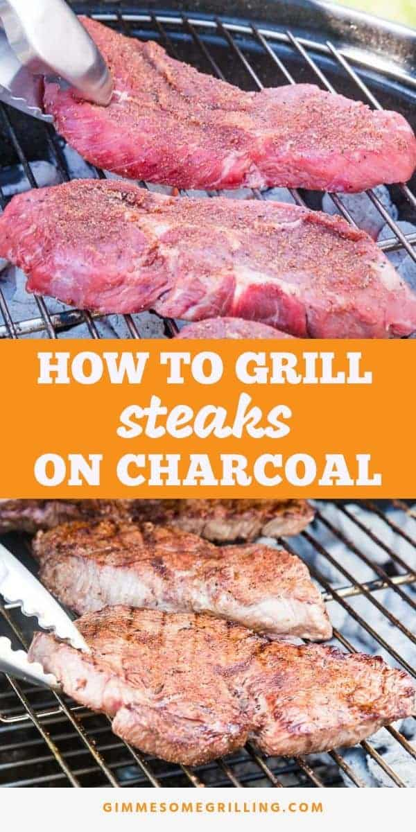 Tips and tricks for getting a perfectly juicy, tender and delicious steak using your charcoal grill! Learn how to grill a steak on a charcoal grill with the ultimate smokey flavor. Plus, a homemade rub that is out of this world! These are the BEST charcoal grilled steaks ever! #steak #charcoal