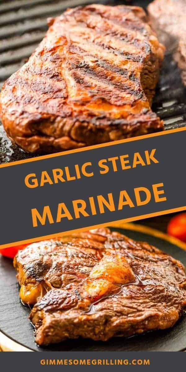 A quick and easy Garlic Steak Marinade with give your steak so much flavor! It leaves your grilled steak juicy and tender. You can prepare it on your grill or on your grill pan over the stove. This marinade recipe is easy, quick and made with pantry staples. It's the perfect summer grilling recipe! #marinade #recipe via @gimmesomegrilling