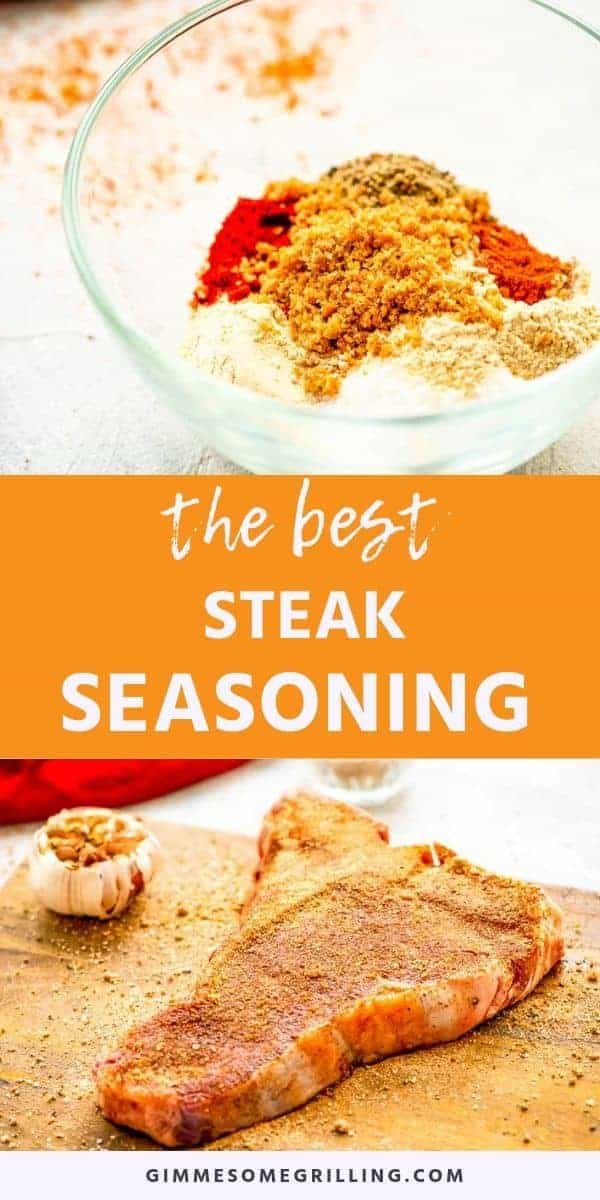 qaHomemade Steak Seasoning will make your steaks the BEST grilled steaks ever! It's the perfect blend of garlic powder, smoked paprika, onion, chili and black pepper. The addition of brown sugar will give your steaks the perfect sweet touch without being overwhelming. Upgrade from seasoning your steaks with salt and pepper to this delicious mix. It's the BEST Steak Seasoning ever! #steak #seasoning