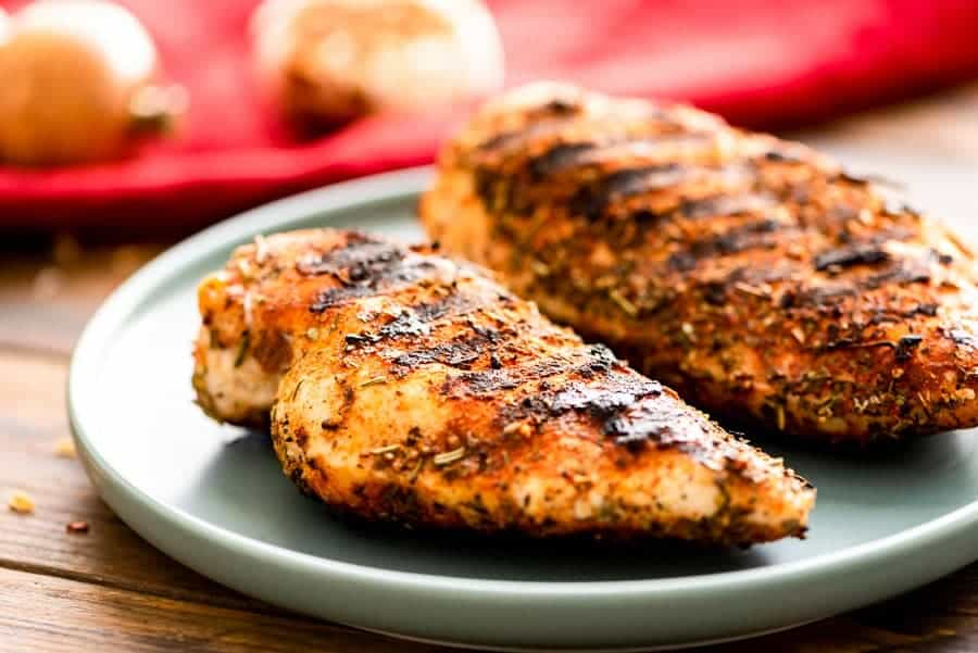 Grilled chicken breasts on plate