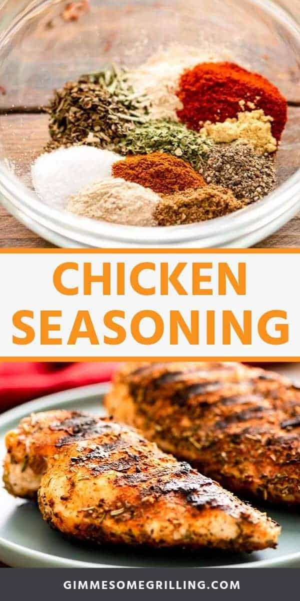 Chicken Seasoning is a quick and easy way to take your baked, grilled or smoke chicken to the next level! It includes a few basic seasonings like smoked paprika, garlic powder and more. Throw it in a bowl, mix it up and rub it onto you chicken. Then prepare it the way you would like! #chicken #seasoning via @gimmesomegrilling