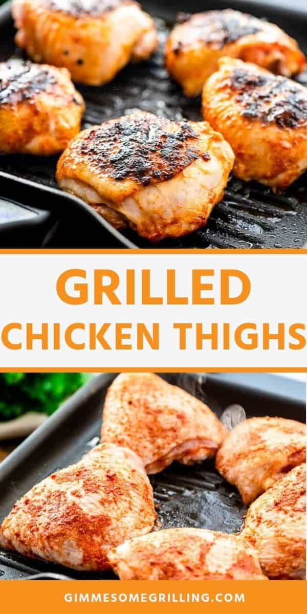 Grilled Chicken Thighs with a simple seasoning to give them so much flavor. These bone-in chicken thighs are juicy and perfect for a quick dinner recipe. #chicken #thighs via @gimmesomegrilling