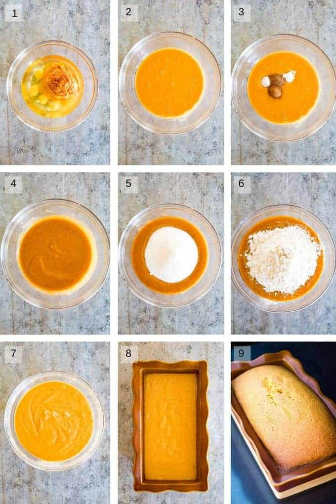 collage of step by step photos to make pumpkin bread