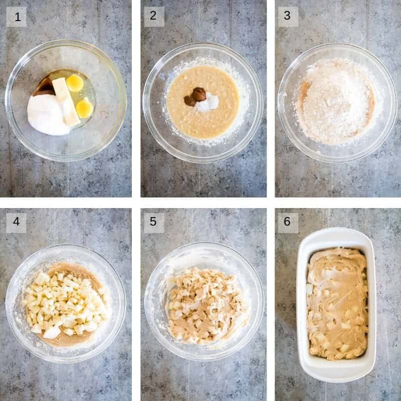collage of photos on how to make apple bread