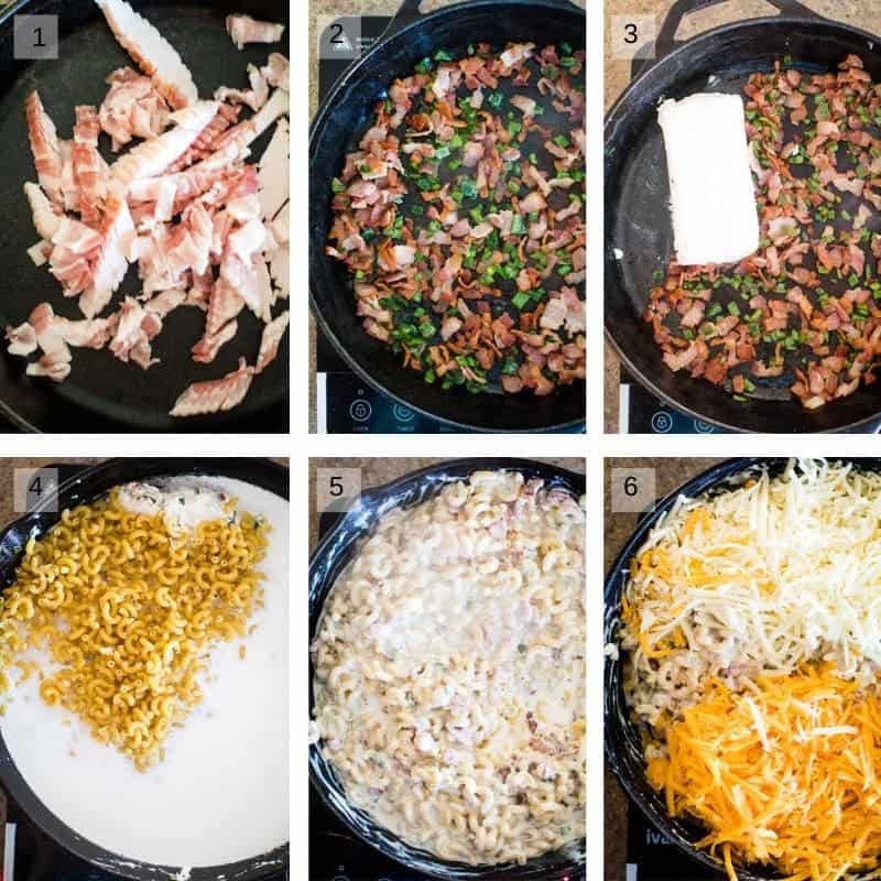 Photo collage of pictures to make jalapeno mac and cheese