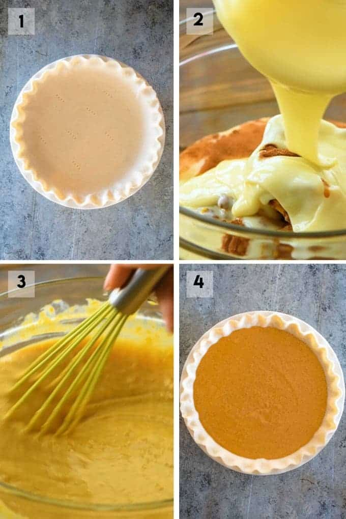 Collage of step by step photos to make pumpkin pie