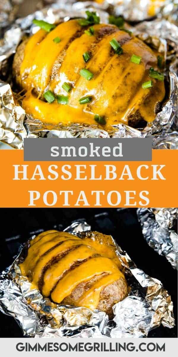 Smoked Hasselback Potato are baked potatoes with slits in them that are smoked then stuffed with cheddar cheese. The perfect side dish on your smoker! #smoked #potato via @gimmesomegrilling