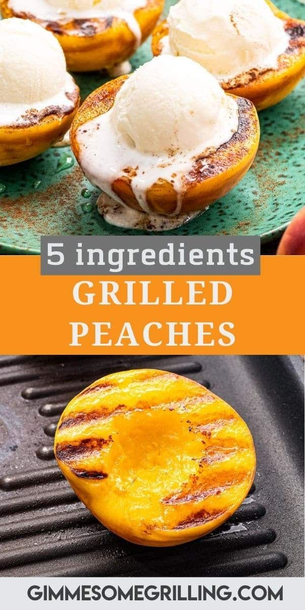 Juicy, grilled peaches are ready in 20 minutes and only require five ingredients. Tender, juicy peaches topped with a sprinkle of cinnamon, drizzle of honey and a scoop of ice cream for the perfect summer dessert recipe! #peaches #recipe via @gimmesomegrilling