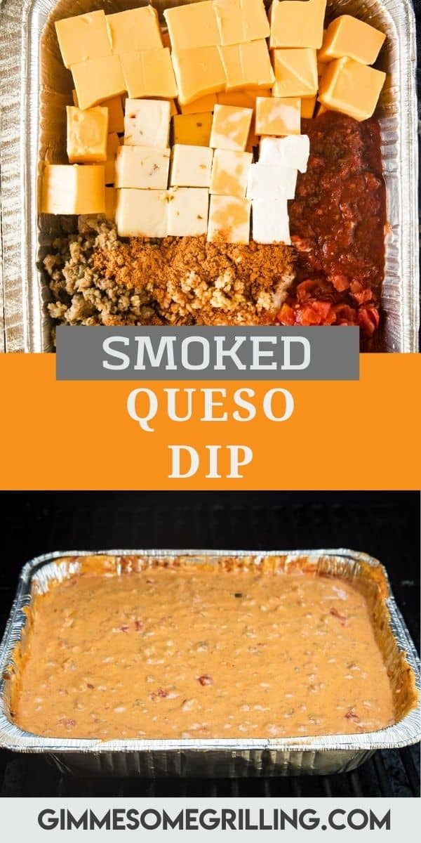 Silky smooth cheese dip with a kick! This easy Smoked Queso Dip is amazing with so much flavor. It has three types of cheese, ground sausage, salsa and more. That smokey flavor takes it over the top. Grab your chips and dig in! #queso #dip via @gimmesomegrilling