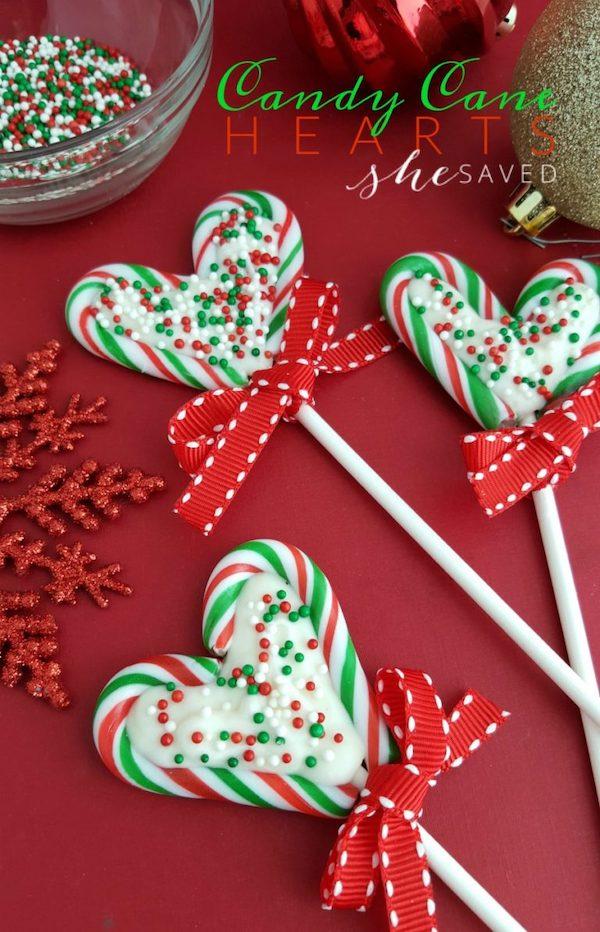 Candy Cane Heart Lollipops