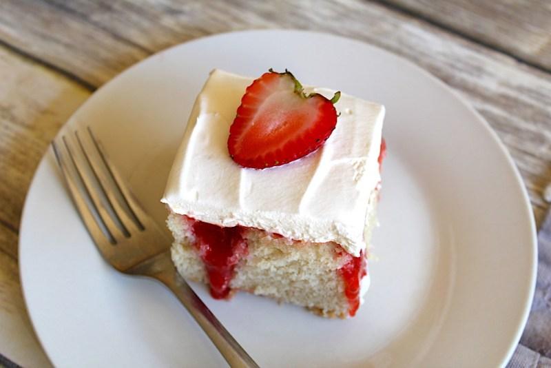Strawberry poke cake - Honey + Lime