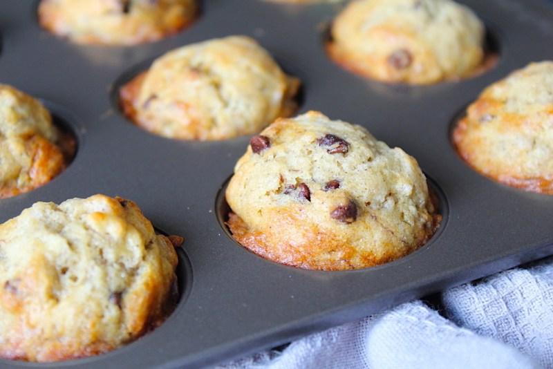 Chocolate chip banana bread muffin minis