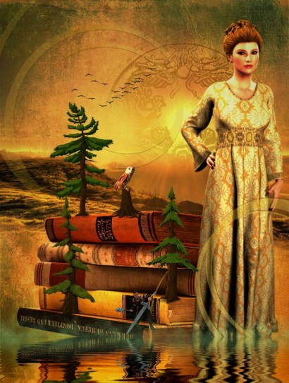 Fairy tale princess and books in fantasy land