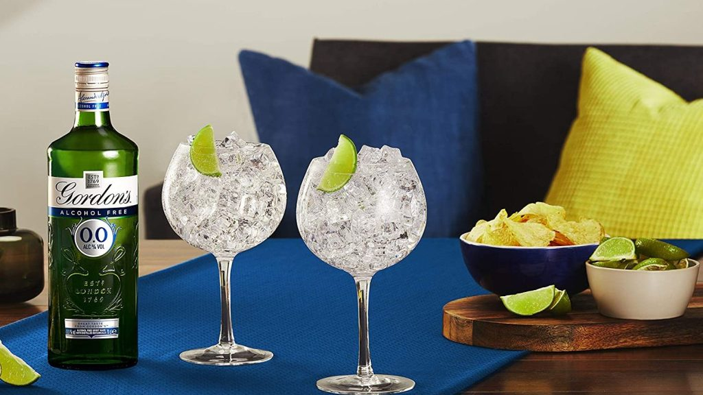 Gordon's 0.0% serve in gin glasses