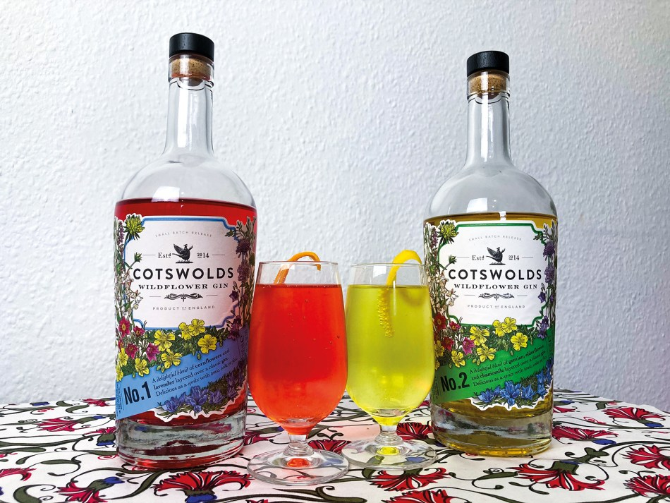 Gin Spritzes made with Cotswolds Distillery's Wildflower Gins