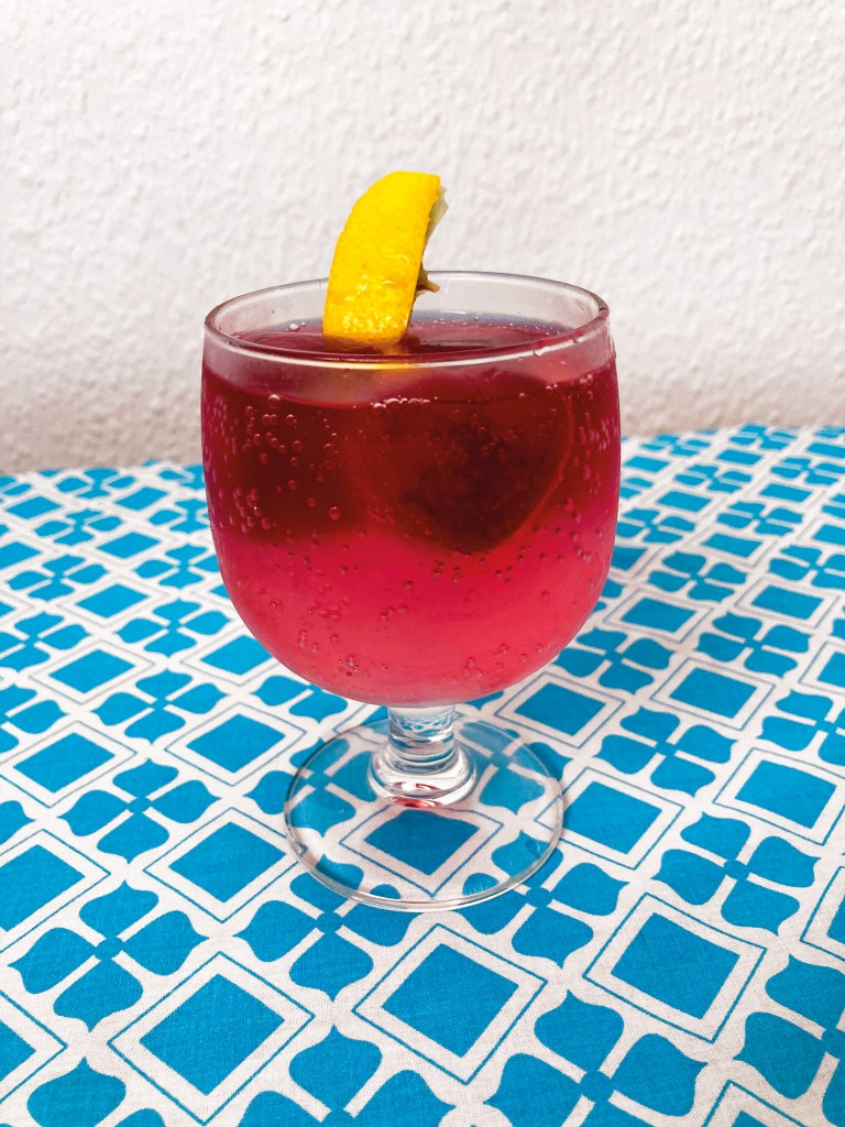 gin and tea drink with hibiscus tea