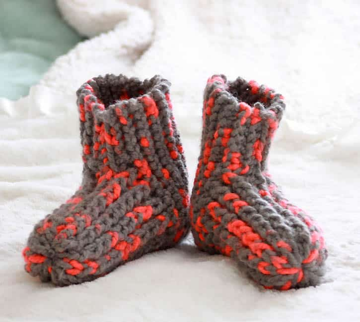 Free Womens Slippers Knitting Pattern by Gina Michele