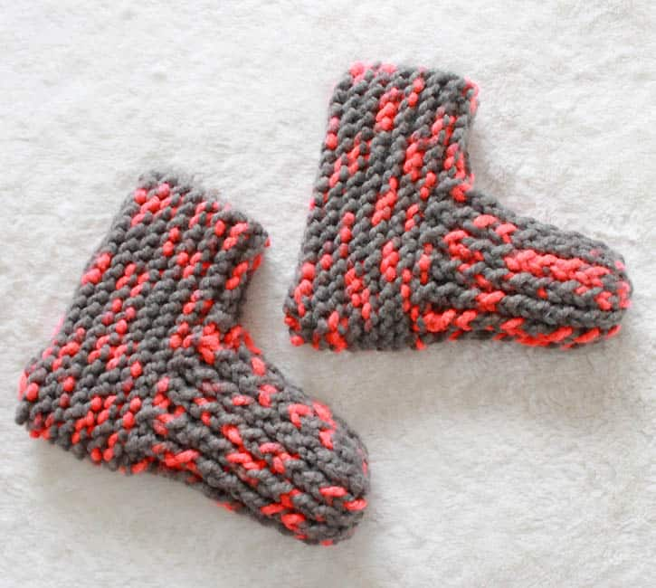 Free Beginner Slippers Knitting Pattern by Gina Michele