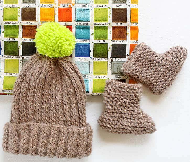 Bringing Home Baby Gift Set Hat Booties Knitting Pattern