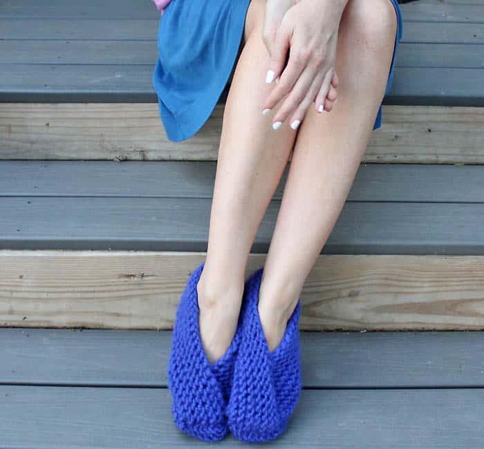 Easy Foldover Slippers Knitting Pattern